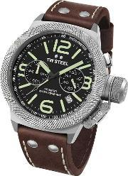 Tw Steel , Mens Canteen Brown Strap Watch Twcs23