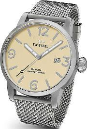 Tw Steel , Mens Stainless Steel Strap Watch Twmb1