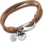 Unique , Stainless Steel 19cm Natural Leather Crystal Ball Bracelet B152na-19cm