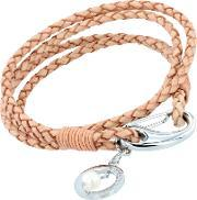 Unique , Stainless Steel Natural Leather Crystal Ball Bracelet B196na19cm