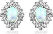 V Jewellery , Silver Empire Synthetic Opal And Cubic Zirconia Earrings 3015