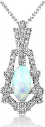 V Jewellery , Silver Empire Synthetic Opal And Cubic Zirconia Pendant 3014