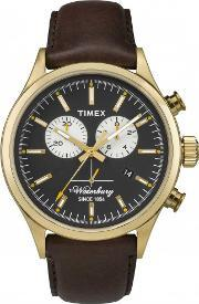 Waterbury , Timex  Mens Gold Plated Chronograph Strap Watch Tw2p75300