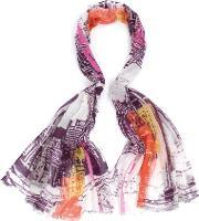 Fraas , Polyester Purple Pink Abstract Scarf 625833-360