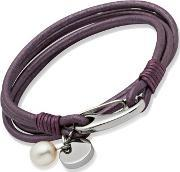 Unique , Stainless Steel Fwp 4 Strand Purple Leather Bracelet B67be