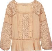 Chelsea Flower , Crocheted Paneled Pintucked Cotton Top Beige