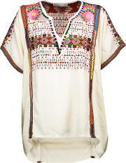 Chelsea Flower , Yuca Embroidered Woven Top Ecru