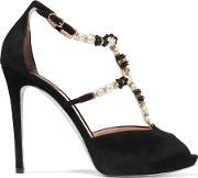 Rene Caovilla , Faux Pearl And Crystal Embellished Suede Sandals Black