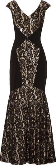 Theia , Sequined Corded Lace And Crepe Gown Black