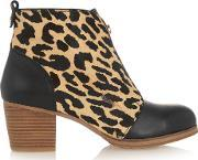 Yosi Samra , Leather And Leopard Print Calf Hair Ankle Boots