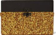 Edie Parker , Small Trunk Glittered Acrylic Box Clutch Gold