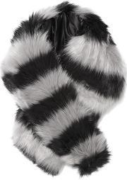 Charlotte Simone , Candy Striped Faux Fur Scarf Gray