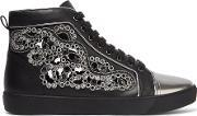 Rene Caovilla , Crystal Embellished Cutout Leather Sneakers