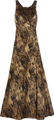 Theia , Embellished Jacquard Gown Bronze