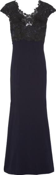 Theia , Lace Paneled Crepe Gown Midnight Blue