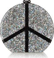 Edie Parker , Oscar Peace Glittered Acrylic Box Clutch