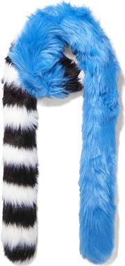 Charlotte Simone , Candy Cane Striped Faux Fur Scarf Blue