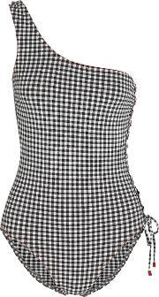 Karla Colletto , One Shoulder Gingham Swimsuit