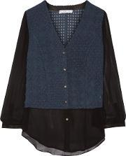 Chelsea Flower , Paneled Georgette Blouse