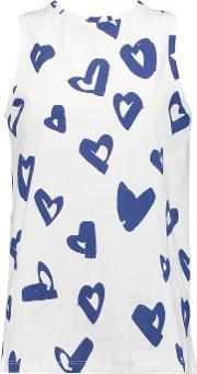 Etre Cecile , Hearts Printed Cotton Jersey Top White