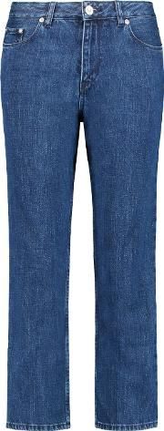 Etre Cecile , High Rise Cropped Straight Leg Jeans Mid Denim