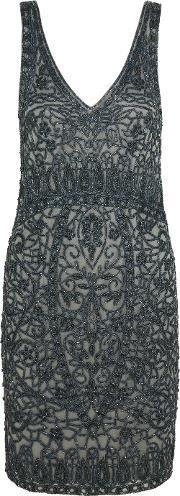 Theia , Embellished Tulle Dress
