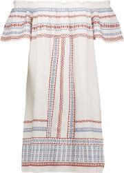 Chelsea Flower , Off The Shoulder Embroidered Cotton Dress Ivory
