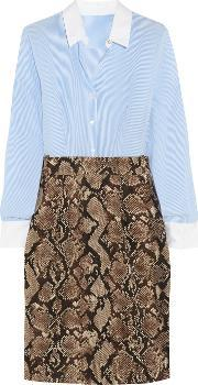 Altuzarra For Target , Pinstriped Crepe De Chine And Python Print Twill Shirt Dress Snake Print