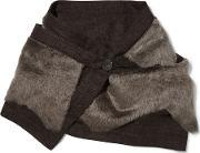 Karl Donoghue , Shearling And Wool Scarf Chocolate