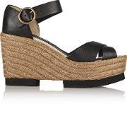 Paloma Barcelo , Leather Wedge Sandals Black