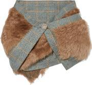 Karl Donoghue , Shearling And Checked Wool Scarf Brown