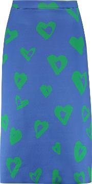 Etre Cecile , Printed Bonded Jersey Midi Skirt Bright Blue