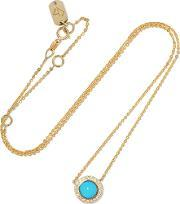 Carbon & Hyde , 14 Karat Gold, Diamond And Turquoise Necklace