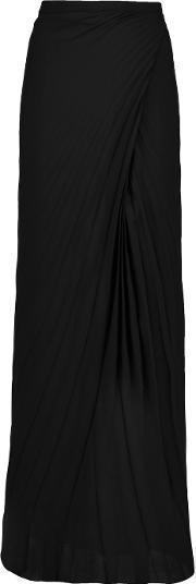 Chalayan , Wrap Effect Pleated Crepe Maxi Skirt Black