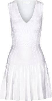 Cushnie Et Ochs , Pleated Stretch Knit Mini Dress White
