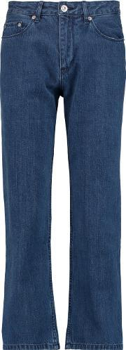 Etre Cecile , Cropped Mid Rise Straight Leg Jeans Mid Denim