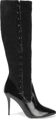 Lucy Choi London , Seville Suede And Patent Leather Knee Boots Black