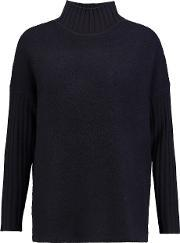 Pringle Of Scotland , Cashmere And Merino Wool Blend Turtleneck Sweater Navy