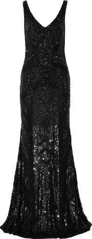 Theia , Embellished Tulle Gown Black