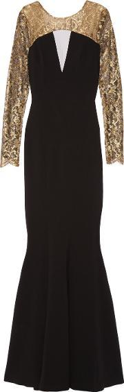 Theia , Lace Paneled Crepe Gown Black