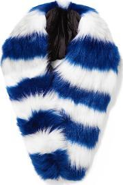 Charlotte Simone , Candy Striped Faux Fur Scarf Blue