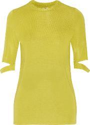 Issa , Janet Cutout Stretch Knit Top Chartreuse