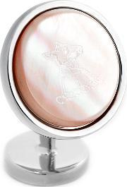 Thomas Pink , Round Fox Mother Of Pearl Cufflinks