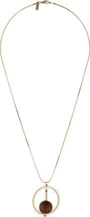 Topshop , Womens Circle And Wood Ball Pendant Necklace