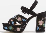 Topshop , Womens Marigold Embroidered Platforms