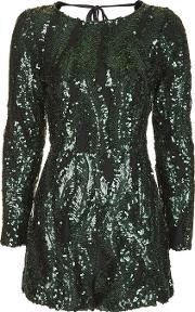 Wyldr , Womens All Night Long Green Playsuit By