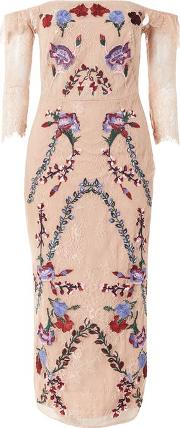 Hope And Ivy , Womens Lace Bardot Dress With Embroidery By Hope & Ivy