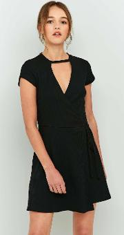 Sparkle & Fade , Cut Out Ribbed Wrap Dress