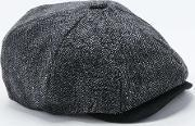 Christys London , Christy S London Charcoal Herringbone Bakerboy Hat Black