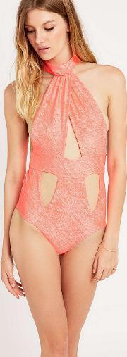 Lolli , Cut Out Swimsuit In Coral Coral